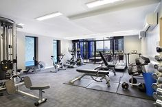 The Bank Apartments' fully equipped gym.