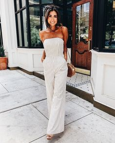 striped strapless women's jumpsuit
