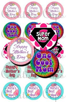 Mothers Day Images for Bottle Caps 4x6. $2.00, via Etsy.