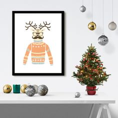 Reindeer with Glasses & a Mustache Christmas Poster Print by PastelTrail -- See more at http://www.pasteltrail.com