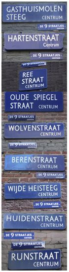 """Negen Straatjes - Amsterdam. Neighborhood of """"Nine Little Streets"""" filled with Dutch designer stores, quirky stores, cafes, etc."""
