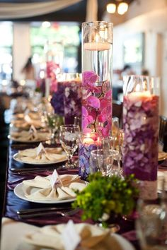 Purple flower Floating candle centerpieces with bow napkins