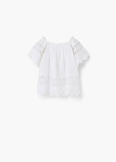 Vestido ponto aberto algodão -  Criança | MANGO Kids Portugal