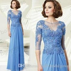 Free shipping, $138.22/Piece:buy wholesale Hot A LineMother Of The Bride Dresses Crew Lace Applique Beaded Light Blue Half Sleeve Women Evening Formal Dress Long Chiffon Plus Size of 2014 Fall Winter,Reference Images,Chiffon,Modern,Autumn/Spring from DHgate.com, get worldwide delivery and buyer protection service.
