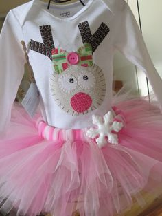 Sweet Christmas Baby Outfit, pink tutu, reindeer shirt, christmas onesie, reindeer onesie, baby, christmas pictures. $39.95, via Etsy.