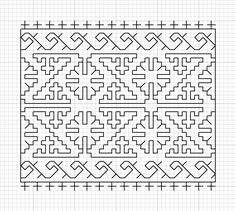 Pattern from Detail of a blackwork cuff, portrait of Jane Seymour by Hans Holbein, 1537 Kasuti Embroidery, Embroidery Leaf, Embroidery Stitches, Embroidery Patterns, Cross Stitch Kits, Cross Stitch Charts, Cross Stitch Designs, Cross Stitch Patterns, Blackwork Cross Stitch