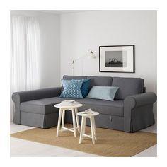 BACKABRO Sofá cama con chaiselongue - Nordvalla gris oscuro, - - IKEA