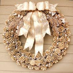 Gold Glittered Pinecone Wreath Champagne by morebrightideas