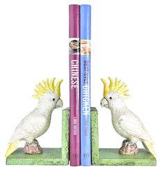 Antique Look Cockatoo Bookends - Matt Blatt