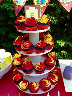 Lego Iron Man birthday party cupcakes red & yellow fire kids food