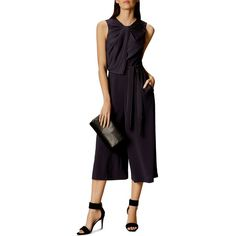 Karen Millen Piped Culotte Jumpsuit ($399) ❤ liked on Polyvore featuring jumpsuits, navy, karen millen, navy blue jumpsuit, navy jumpsuit, navy wide leg jumpsuit and special occasion jumpsuits