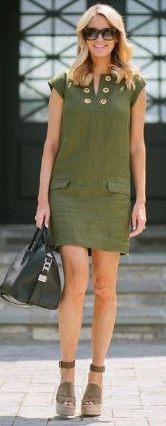 #summer #trendy #outfitideas Army Green Little Dress