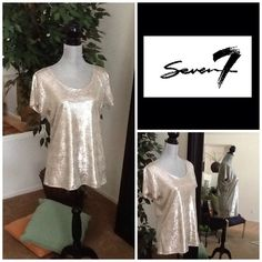 Seven7 Pullover Top 100% Polyester.  Mfg. Color; Champagne. Seven7 Tops