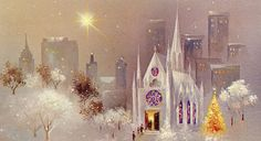 Vintage Christmas Norcross Greeting Card White Cathedral in the city EB6187