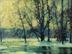 """""""Snowy Waters,"""" John Fabian Carlson, ca. 1920-1927, oil on canvas, 12 x 16"""", Reading Public Museum."""