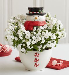 """Frosty the Snow PlantCreate a snowball effect of jolly and happy with this spirited """"snowman."""" Our fresh white campanula plant arrives in a fun and frosty ceramic snowman planter (which can later be reused as a candy dish), and is topped with an adorable snowman head pick."""
