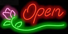 """Rose Neon Open Sign Script Style by Open Neon Signs. $149.00. Brand New, Quality Neon Sign - Delivered to Your Door in a Few Days!. Mounted on a Black Backing for Maximum Visibility!. Neon Attracts Immediate Attention!. 32"""" wide x 16"""" high. This Neon Sign features Red Script Letters with a Pink & Green Graphic and measures 32 wide x 16 high. Priced lower than ever, this sign can be delivered to you in just a few days!. Save 21%!"""