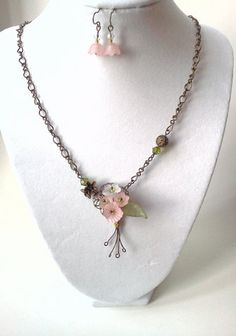 Blushing bouquet antique brass and Lucite flower by PinkCupcakeJC, $21.00