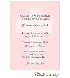 Little Lamb Design | Pink Fancy Cross Background Invitation