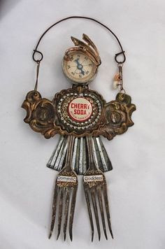 DOMESTIC GODDESS Found Object Assemblage Art Doll.  via Etsy.