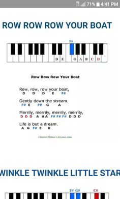 Row Row Row Your Boat, Nursery Rhymes, Piano, Sheet Music