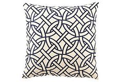 Circle Link 20x20 Linen Pillow, Navy