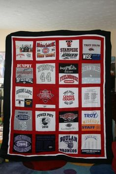 Items similar to full size t shirt quilt on Etsy Football Quilt, Baseball Quilt, Varsity Letter, Quilting Designs, Quilt Design, Shirt Quilts, Cute Quilts, Christmas Sewing, Quilt Top
