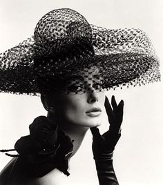 Tania Mallet in a Madame Paulette stiffened net picture hat, photo John French. London, UK, 1963. via bluetramontana style