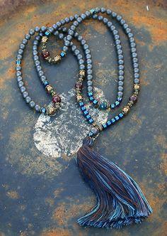 Beautiful hematite gemstone mala necklace von look4treasures
