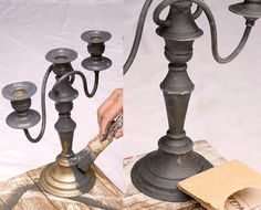 Brass candlesticks are thriftstore mainstays, so i love annie's idea of using matte grey or black paint to create a more sophisticated antique feel. The gentle weathered look is achieved by rubbing sandpaper on the surface.