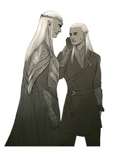 kaciart:I was imagining it as Thranduil wiping a smudge of blood from Legolas' cheek and think my mind conjured up an image of Thranduil spitting on his sleeve and scrubbing at Legolas' cheek. 'Adaaaa D: not in front of the Dwarves D:' Legolas And Thranduil, Fili And Kili, Middle Earth, Lord Of The Rings, The Conjuring, Narnia, Tolkien, Medium Art, Lotr
