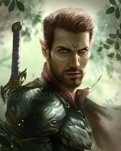 character art m Half Elf Fighter Plate Armor Greatsword portrait deciduous forest med Fantasy Warrior, Elf Warrior, Fantasy Races, Fantasy Rpg, Fantasy Art Male, Elf Characters, Dungeons And Dragons Characters, Fantasy Characters, Fantasy Portraits
