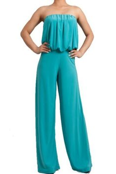 SkyFashion Woman Strapless Jumpsuit Tube Loose Fitting Full Wide Leg ** This is an Amazon Affiliate link. Details can be found by clicking on the image.