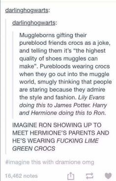 The Muggle-borns who give Crocs a comeback: 17 Posts About Muggle-Borns That Will Make Harry Potter Fans Laugh Harry Potter Jokes, Harry Potter Fandom, Harry Potter Head Canon, Harry Potter Tumblr Funny, Harry Potter Fashion, Scorpius And Rose, No Muggles, Def Not, Yer A Wizard Harry