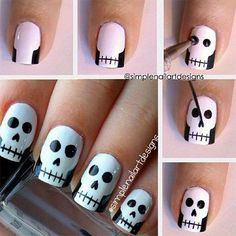How cute are these skull nails by They're perfect for Halloween! You can also watch her video tutorial to see how to create this simple skull nail art. How are you wearing your nails for Halloween? Skull Nail Art, Skull Nails, Nail Art Diy, Easy Nail Art, Diy Nails, Cute Nails, Pretty Nails, Diy Manicure, Halloween Nail Designs