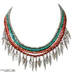 Festival bohemian boho necklace designed by Denise Yezbak Moore