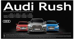 View Audi Rush Benefits pre-loaded on the Audi range Ad newspaper. This Ad is collection of Sample Ad at Advert Gallery. Car Banner, Tata Motors, Car Advertising, Audi Cars, Car Ins, Fiat, Jaguar, Mercedes Benz, Volkswagen