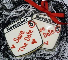 1 Dozen Save The Date Wedding Engagement Favor by SweetRoseCookies