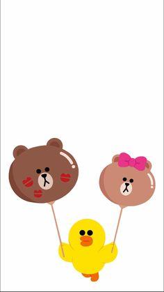 Lines Wallpaper, Bear Wallpaper, Cony Brown, Brown Bear, Brown Line, Kawaii Chibi, Cute Stationery, Cute Cartoon Wallpapers, Line Friends