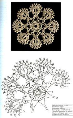 Creations Crochet D& - Malinka-Malinka Photo from album Crochet Snowflake Pattern, Irish Crochet Patterns, Crochet Doily Patterns, Crochet Snowflakes, Crochet Diagram, Freeform Crochet, Crochet Chart, Crochet Squares, Crochet Designs