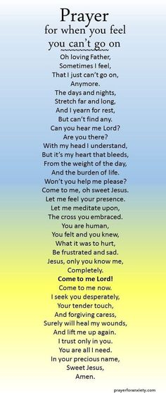 Prayer for when you feel you can't go on