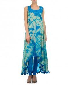 Beige and Cerulean Blue Tie and Dye Kurta Set