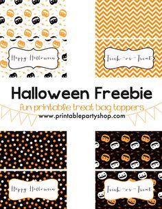 Halloween Treat Bag Toppers Freebie DIY www.printablepartyshop.com