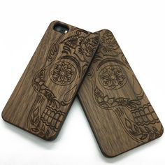 Half Sugar Skull wood engraved iPhone cases &Samsung galaxy phone case | jiacase
