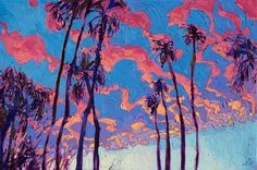 Palm Springs sunset colors in an original oil painting, by Erin Hanson