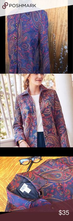 Bedford Fair paisley button-front jacket, Sz XL Classic button-front close, iridescent accented buttons, fully lined.  Could be worn open or closed. Wonderful colors would nicely tie separates into a rich outfit.  Approx measurements, smoke-free, pet-free home. Bedford Fair Jackets & Coats