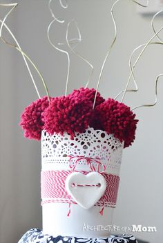 Architecture of a Mom: Pom-Pom Valentine Centerpiece