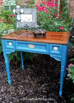 Sewing Desk in Annie Sloan Aubusson Blue via Curb Alert! www.curbalertblog.com