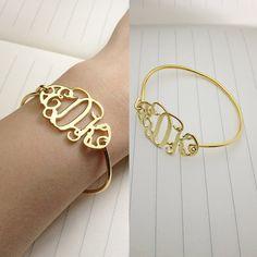 Gold  Monogram Bracelet3 Initial Monogram by customforu on Etsy