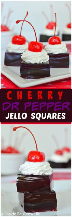 Cherry Dr. Pepper Jello Squares - this easy Jello recipe is made with 2 ingredients. Add Cool Whip and a cherry for a fun way to share these at summer picnics!